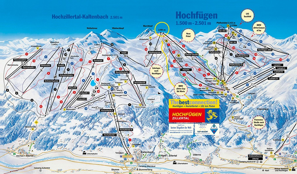 Pistenplan Skigebiet Hochfügen