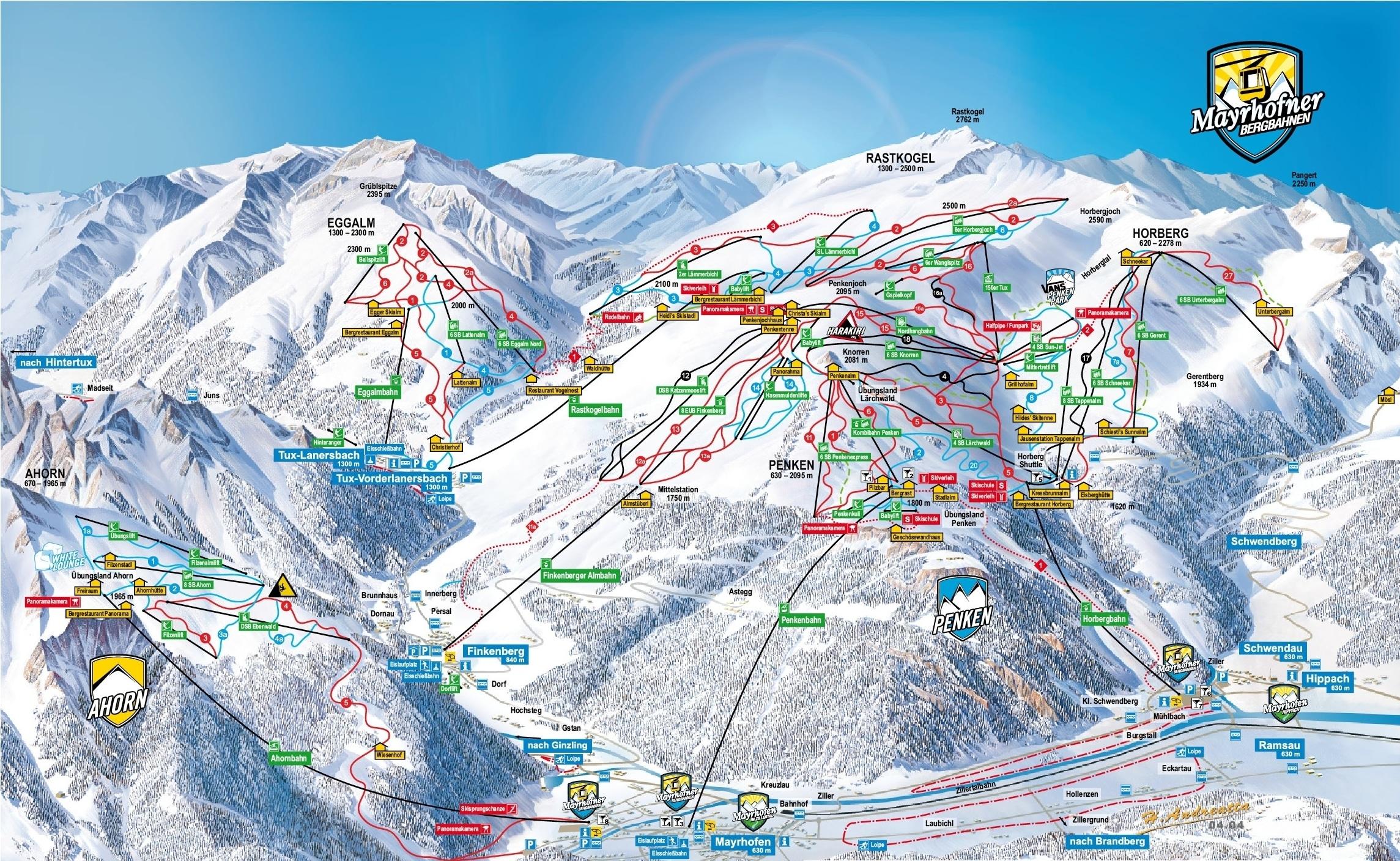 Pistenplan Skigebiet Mayrhofen