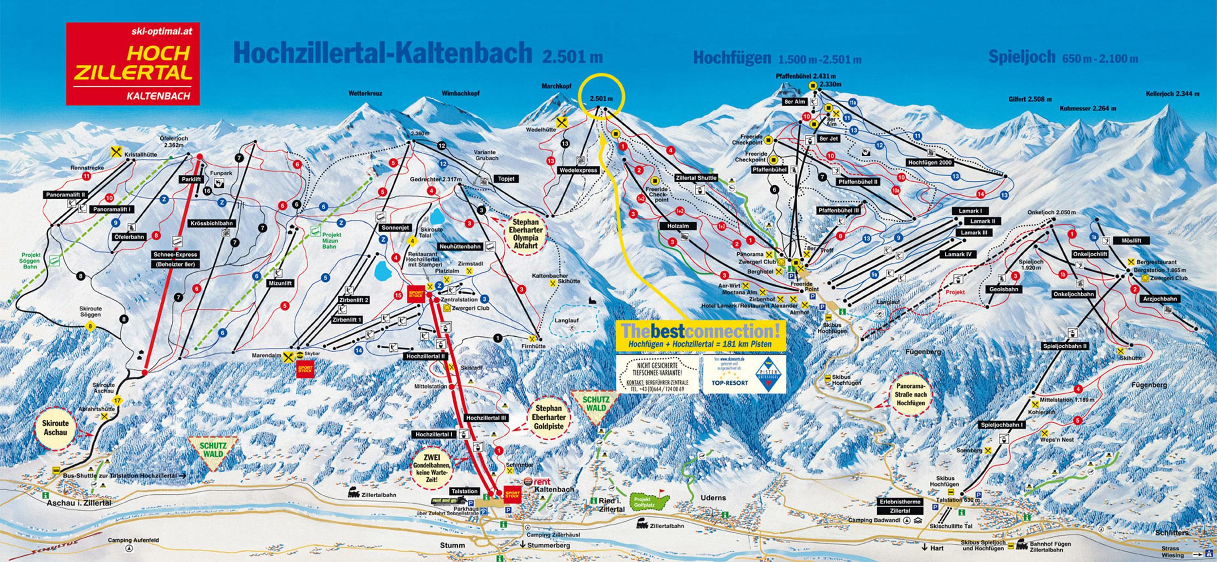 Pistenplan Ski Optimal / Skigebiet Hochzillertal
