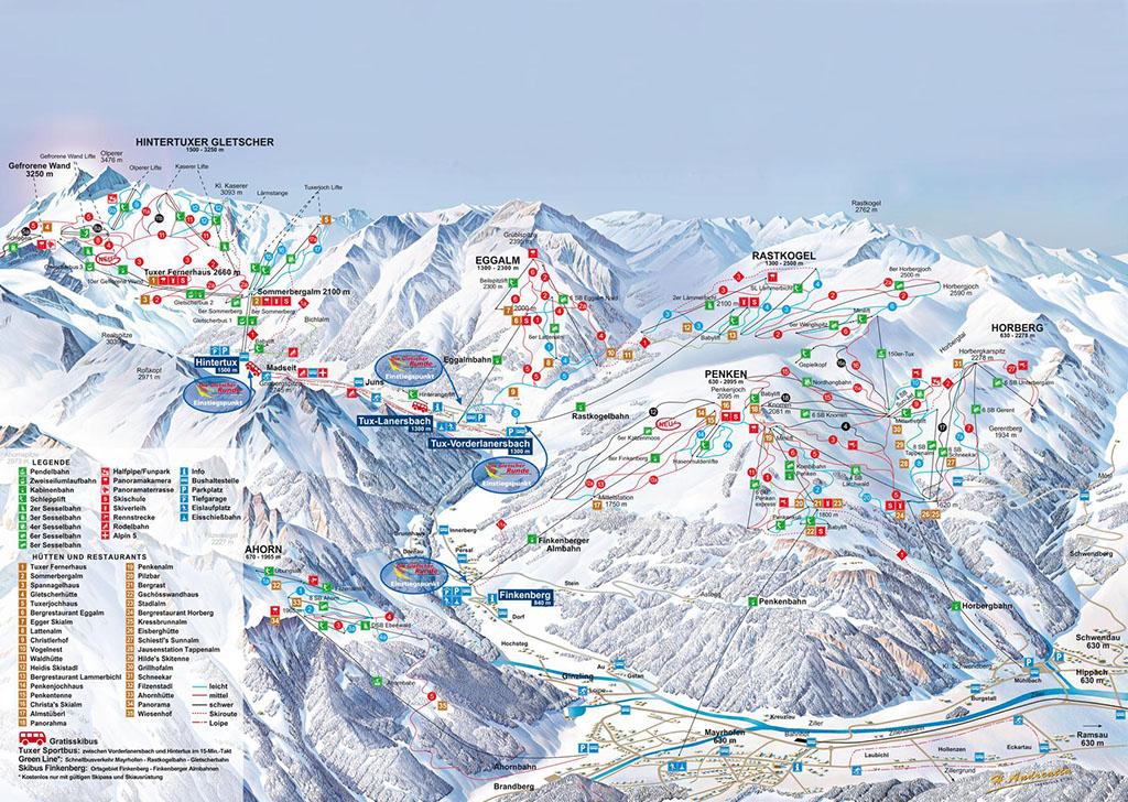Skigebiet Hintertux Pistenplan