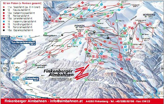 Pistenplan Tux Finkenberg Skigebiet